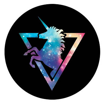 Держатель для телефона круглый (Glass) Космический Единорог / Черный