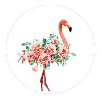 Держатель для телефона круглый (Glass) Фламинго / Белый