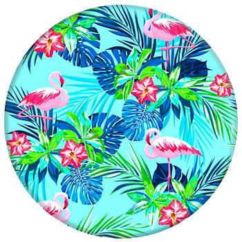 Держатель для телефона круглый (Glass) Фламинго / Зеленый