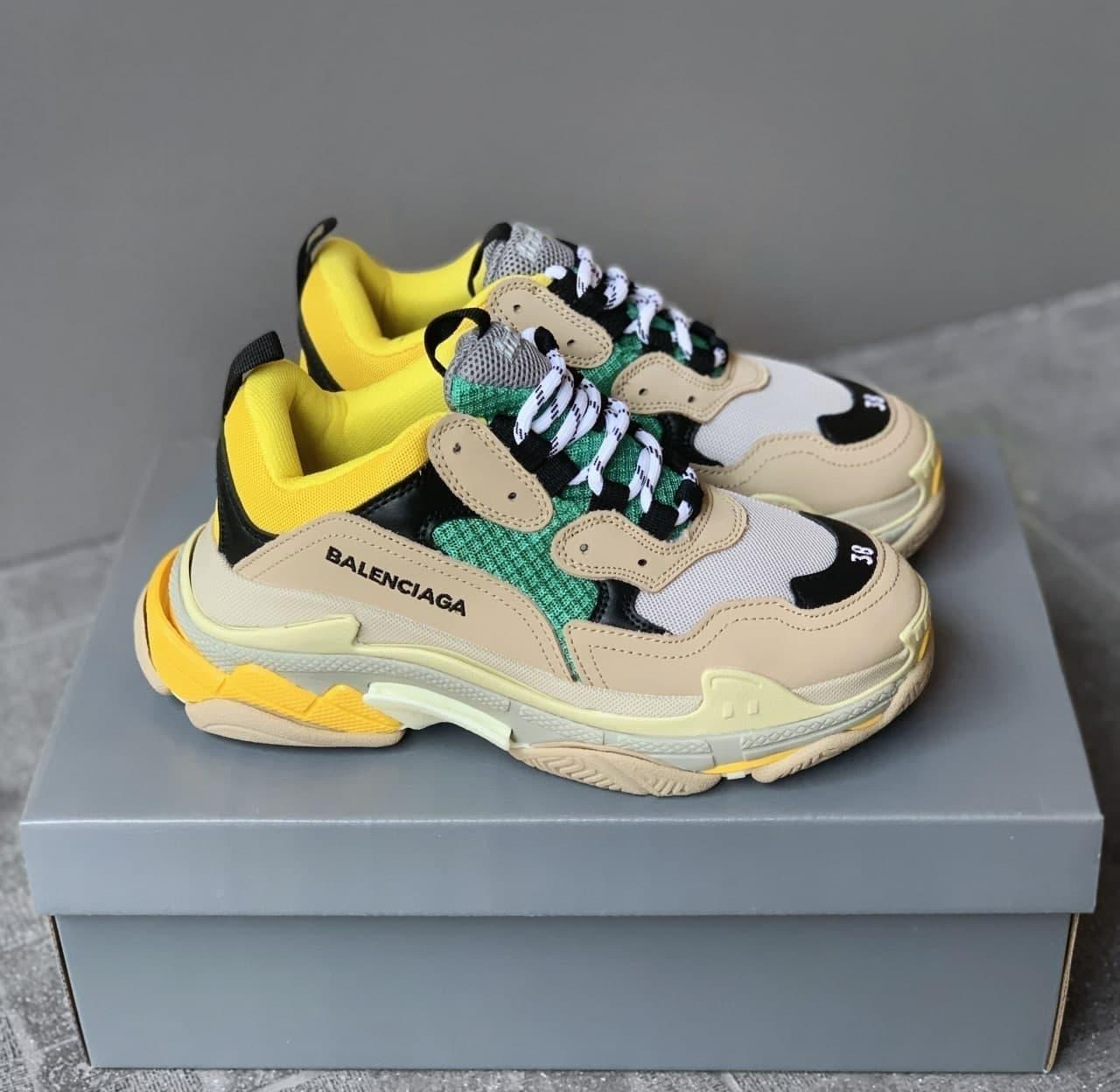 Женские кроссовки Balenciaga Triple S Beige/Green/Yellow