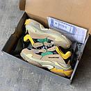Жіночі Кросівки Balenciaga Triple S Beige/Green/Yellow, фото 7