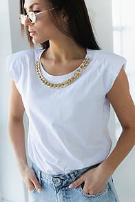 Женская футболка с цепью и подплечниками в белом цвете L