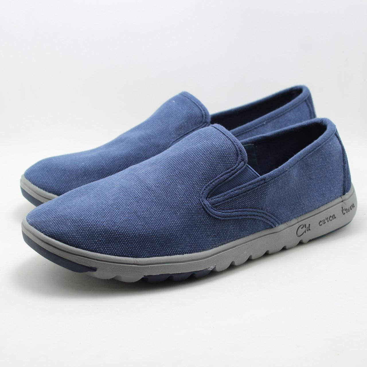 Сині чоловічі туфлі сліпони Tesoro 107109/07-01 текстильні