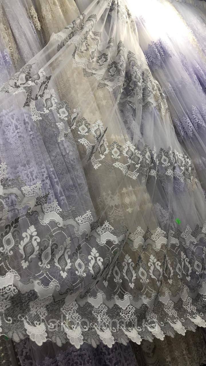 Кремовий тюль з фатину з вишивкою сірого кольору на метраж, висота 3,2 м (122027-st)