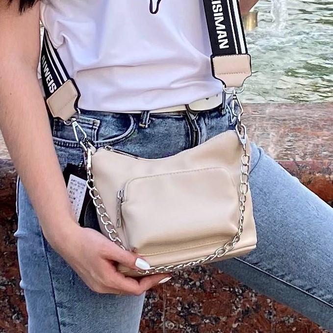 Женская бежевая кожаная сумка кросс боди (эко кожа) Kiki. Стильная сумочка кросс-боди на широком ремне