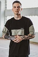 Мужская футболка 'FreeDom' оверсайз черная с оливкой