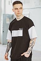 Мужская футболка 'FreeDom' оверсайз черная с белым