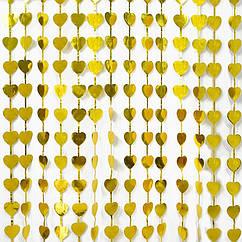 Шторка фольга для фото зоны 1×2метра сердца (золото)