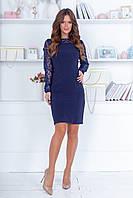 Элегантное облегающее трикотажное короткое платье с ажурными рукавами и спинкой р.42-46. Арт-4978/34, фото 1