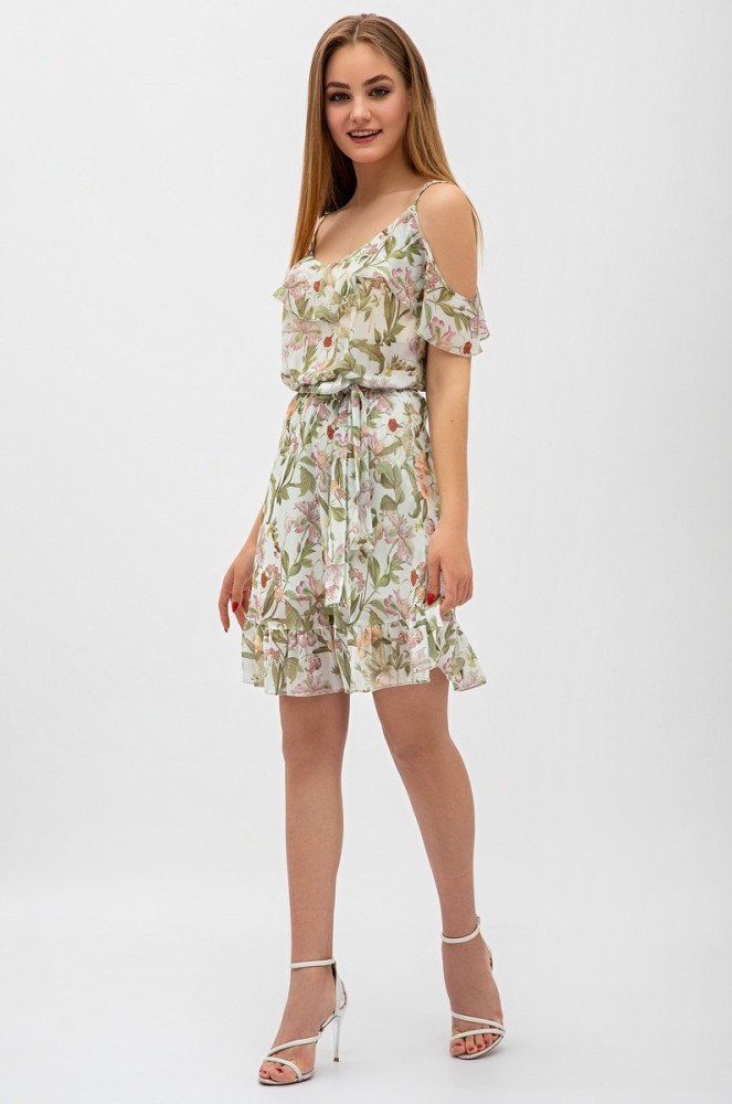 Легкое шифоновое платье в цветочный принт, на регулируемых бретелях, с воланами, выше колен.