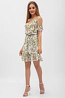 Легкое шифоновое платье в цветочный принт, на регулируемых бретелях, с воланами, выше колен., фото 1