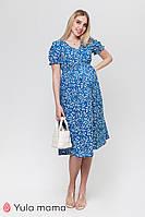 Летнее платье для беременных и кормящих из штапеля с принтом Audrey DR-21.071 синее