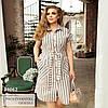 Платье в полоску. с поясом, на пуговицах, розовый