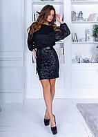 Чорне оригінальне коротке плаття зі спідницею-олівець і вільними рукавами р. 42-46. Арт-4980/34, фото 1