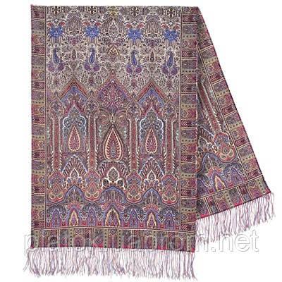 Царский 1159-52, павлопосадский шарф-палантин шерстяной с шелковой бахромой
