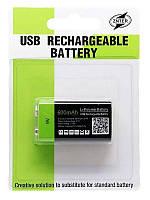 Аккумулятор Znter 6F22 (крона) LiPo 600mAh Micro-USB