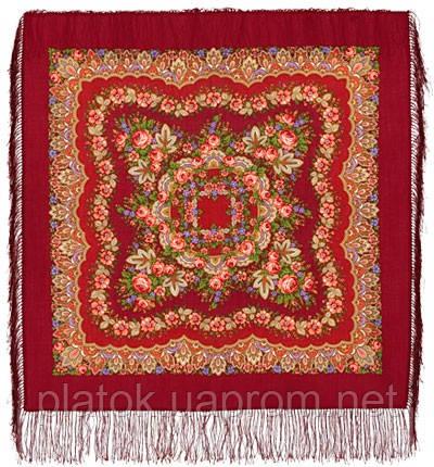 Романтика 1381-5, павлопосадский платок шерстяной  с шелковой бахромой