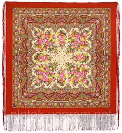 Славянка 1465-5, павлопосадский платок (шаль) из уплотненной шерсти с шелковой вязанной бахромой