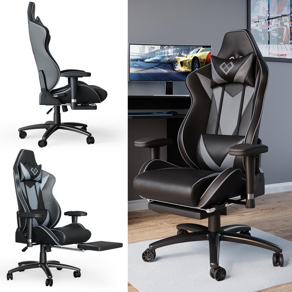 Геймерське крісло з підставкою для ніг, Vicco Sirius, чорно-сіре