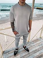 Мужской легкий комплект футболка+штаны серый премиум качества