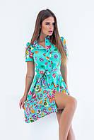 Яскраве літнє бірюзове коротке плаття-сорочка на кнопках з поясом і принтом р. 42-46. Арт-4982/34, фото 1