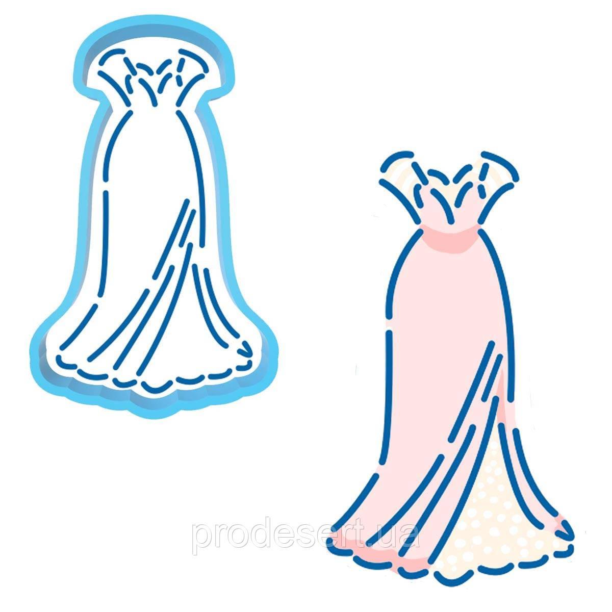 Платье свадебное вырубка с трафаретом 10 см (TR-2)