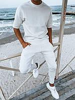 Мужской легкий комплект футболка+штаны белый премиум качества