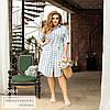 Сукня в широку смужку. з поясом, на гудзиках, блакитний
