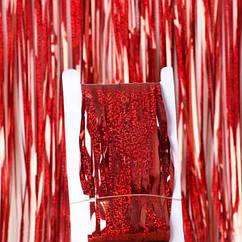 Шторка фольга для фотозоны 1х2 метра (голограмма красная)