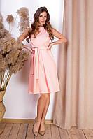 Персикове літній ніжне коротке плаття з поясом і кишенями р. 42-46. Арт-4983/34, фото 1
