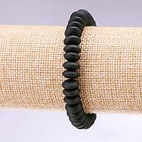 Браслет натуральный камень Шунгит гладкий рондель d10х5мм L- 18см купить оптом в интернет магазине