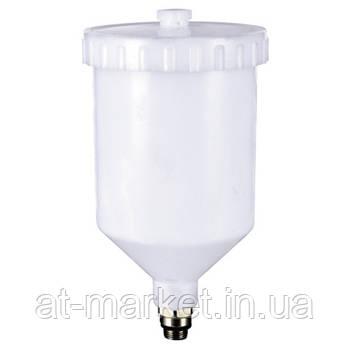 Бачок пластиковый на пневмопистолет (наружная резьба 3/8*1.337) 600 мл ITALCO PC-600D