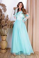 Нежное нарядное обворожительное приталенное длиннгое платье с пышной юбкой (р.42-46). Арт-4985/34, фото 1