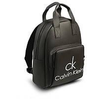 Женский черный кожаный рюкзак (Эко кожа) СК. Стильный, небольшой, удобный, повседневный рюкзачок, фото 2