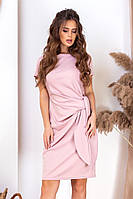 Коктейльное нарядное короткое летнее платье с поясом-завязкой р.42-46. Арт-4986/34, фото 1