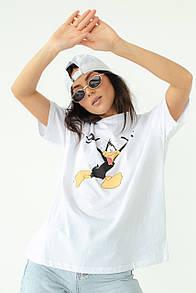 Женская футболка с Даффи Дак в белом цвете
