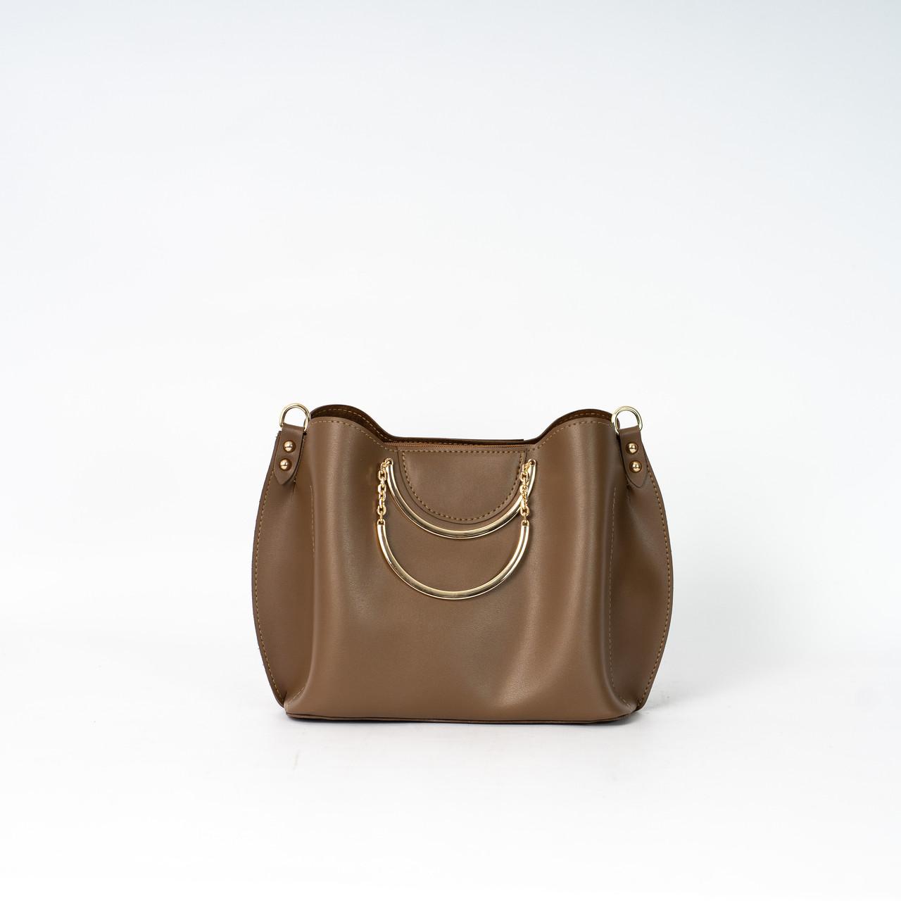 Женская коричневая сумочка K06-20/3 с металлическими маленькими ручками на плечо