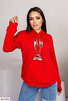 Модна красива жіноча кофта-худі з легкої тканини двунітка на весну-літо з принтом р-ри 42-46 арт 1024