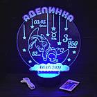 """3D ночник в детскую с метрикой, LED светильник, ночник """"Зайчик на месяце"""" (16 цветов свечения) с пультом, фото 4"""