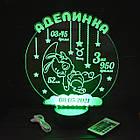 """3D ночник в детскую с метрикой, LED светильник, ночник """"Зайчик на месяце"""" (16 цветов свечения) с пультом, фото 2"""