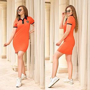 Сукня прогулянкове з рубашечным коміром, №330, помаранчевий з чорними вставками, з 44 по 58р., фото 2