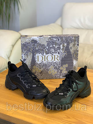 Кроссовки Christian Dior D-connect Black Кристиан Диор Чёрные (36,37,38,39,40) Реплика, фото 2