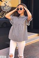 Трендовая модная женская рубашка свободного кроя на лето из хлопка р-ры 42-44,44-46 арт 0063