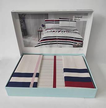 Постельное белье Altinbasak ранфорс 200x220 Striped Kirmizi