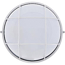 Светильник настенный ЕВРОСВЕТ WOL-10 60Вт Е27 круг белый с решеткой IP65