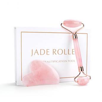 Гуаша скребок и массажный роллер из розового кварца в коробочке
