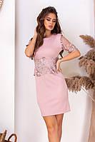 Ошатне лаконічне приталені плаття з ажурним коротким рукавом і вставкою на талії р. 42-46. Арт-4989/34, фото 1