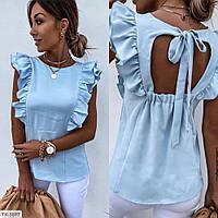 Блуза женская красивая летняя легкая с вырезом на спине р-ры 42-44,46-48 арт 41454, фото 1