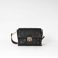 Сумка женская маленькая черная K07-20/4 кросс-боди портфельчик через плечо с длинным ремешком