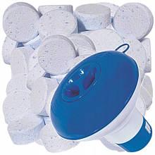 АкваСтарт набор дозатор + химия 3в1 для бассейна  (1 кг=50таб)